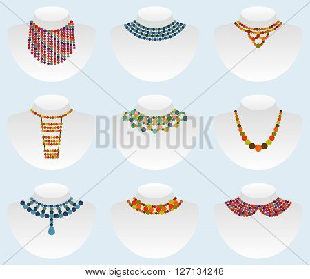 Bead colorful icon set. Colorful vector illustration