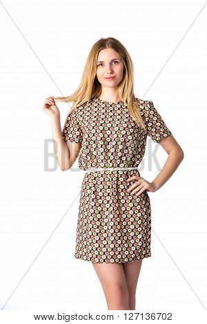 girl in a dress on a white background