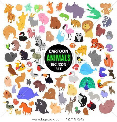 Big set of cute cartoon animal icons isolated on white background. Vector illustration. Child fun pattern sticker. Kids collection. Wild safari fauna design. Sea and bird characters. Funny symbols.