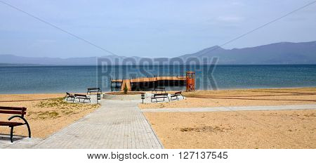 Picture of a lake Prespa in Macedonia in april