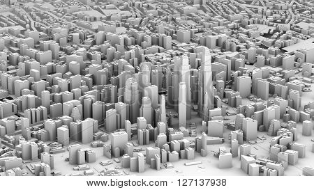 3D illustration of futuristic modern city architecture