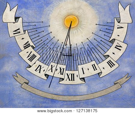 Ancient Blue Sundial Clock at Church Wall