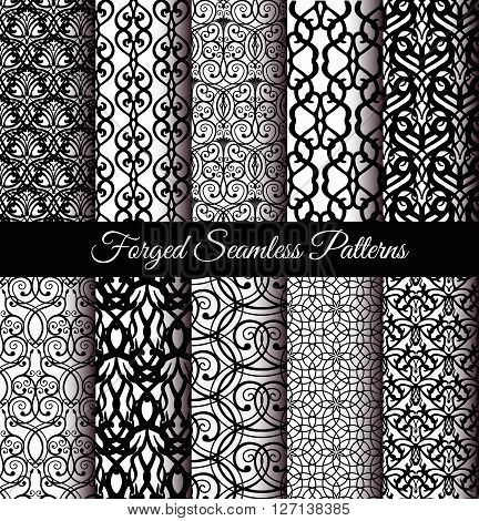 Forged Seamless Patterns Set. Elegant black patterns for wallpaper, invitations, gift paper. Luxury design. Stylized damask vector patterns. Black and white vector print. Abstract flower patterns.