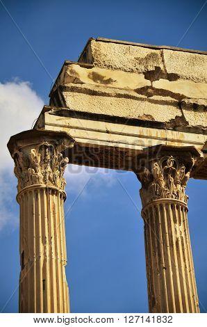 ancient marble column in Forum Romanum, Italy poster