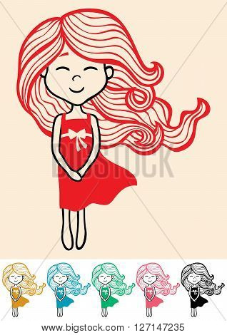 Hand drawn little girl in 6 color versions.