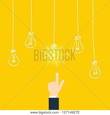 Bussines Concept Of Find Idea. Businessman Touching Idea Conceptual. Flat Design Style Modern Vector