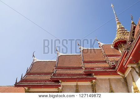 roof church in Buddhism on blue sky