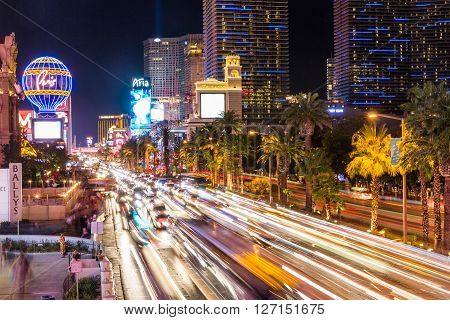 LAS VEGAS, NEVADA - SEPTEMBER 9, 2015: Exterior views of the Paris Casino Resort on the Las Vegas Strip on September 9 2015. The Paris Casino Resort is a famous and popular luxury casino in Vegas.
