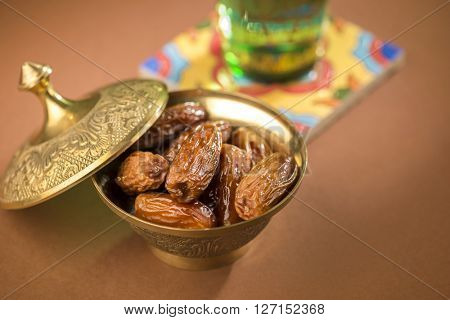 Dates and pure drinking water is consume to end Ramadan fast. Breaking Ramadan fast at Iftar.