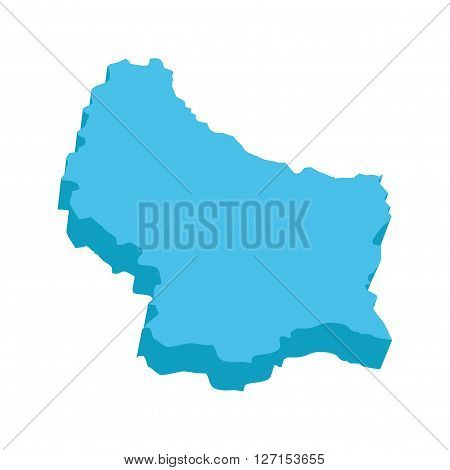 A map of Luxemburg 3D on white background