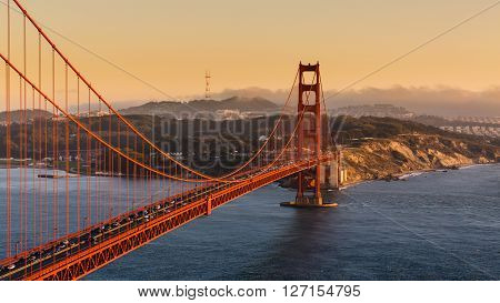 Golden Gate Bridge at sunset from Battery Spencer viewpoint poster
