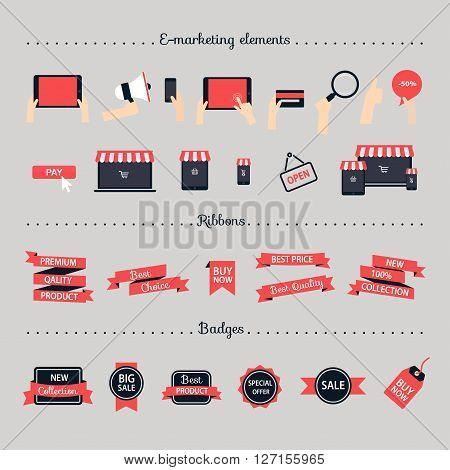 Online shopping e-marketing e-comerce online shop development concept. Flat design style modern vector illustration.