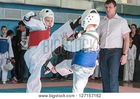 Orenburg, Russia - 23 April 2016: Taekwondo competitions among boys on Open Championship Orenburg city among boys and girls born between 2005-2007