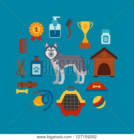Pet grooming concept with dog care elements. Pet grooming: bowl, collar, leash. Pet grooming  poster vector illustration. Colorful Pet grooming concept in flat style. Dog care pet grooming concept