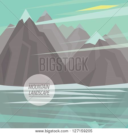 Autumn picturesque mountain landscape with big mountain river or mountain lake and snowy peaks are reflected in water in the fashionable flat style and square ratio