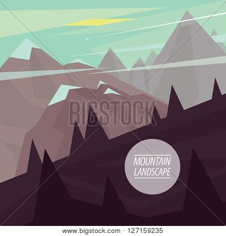 Autumn picturesque mountain landscape with steep ascents and descents and snowy peaks in the fashionable flat style and square ratio