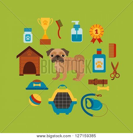 Dog grooming concept with pet care elements. Dog grooming:bowl, collar, leash. Dog grooming  poster vector illustration. Colorful dog grooming concept in flat style. Pet care dog grooming concept