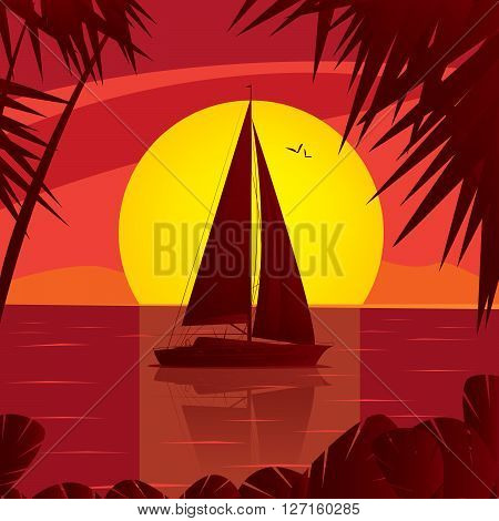 Side view silhouette of a sailing boat at sunset which floating on the high seas. In water reflection yacht and the sun behind the ship - Leisure or Sea lover concept