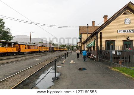 DURANGO COLORADO - AUGUST 27: Exterior views of the historic train station in Durango and its trains on August 27 2015. The trains drive between Durango and Silverton in the state of Colorado.