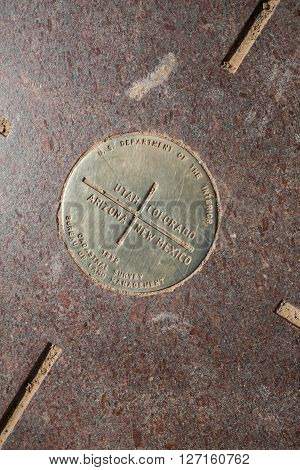 FOUR CORNERS MONUMENT USA - AUGUST 27, 2015: Views of the Four Corners Monument at August 27, 2015. Its the point whre four American State come togheter.