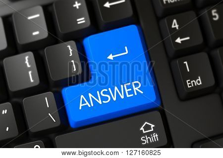 Answer on Modern Keyboard Background. Modernized Keyboard with the words Answer on Blue Key. Key Answer on Computer Keyboard. Answer Keypad on Black Keyboard. 3D Illustration.