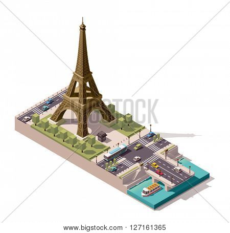 Simplified isometric Eiffel Tower and Jena Bridge