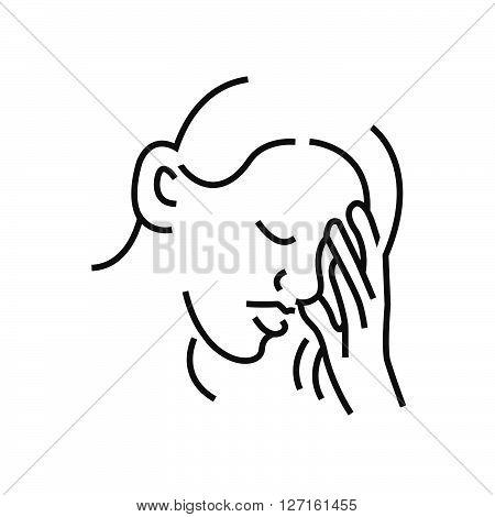 Otolaryngology, Coughing Icon Design, Line Icon Style