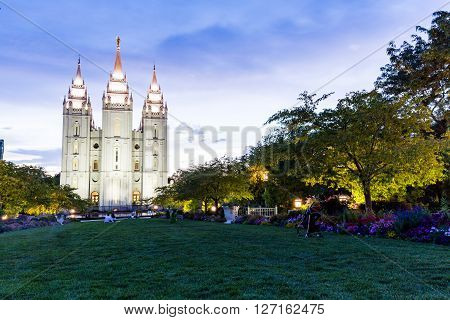 SALT LAKE CITY UTAH - AUGUST 30 2015: Exterior views of the The Church of Jesus Christ of Latter-day Saints by sunset on August 30 2015. Iis a Christian restorationist church in Salt Lake City. poster