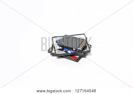 SD and Compact Flash Memory Cards isolated on White Background