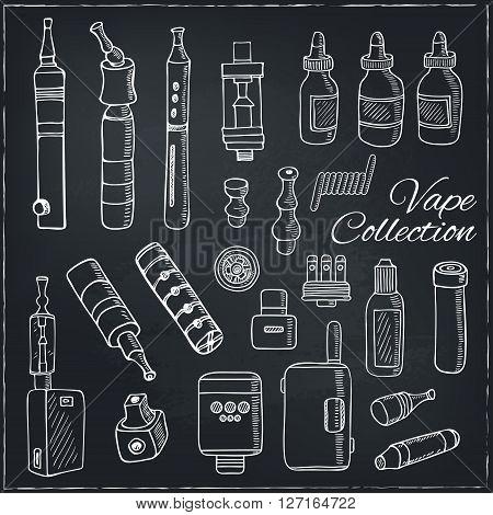 Set of Vaping icons in sketch style on black background. Vape vector illustration. Vape trend. Illustration of Electronic cigarette. E-cig icons set