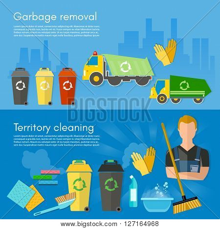 Garbage collection banner garbage sorting scavenger team sorting waste for recycling separation of waste on garbage bins