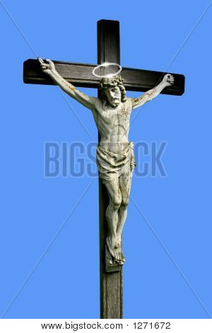 Christ On The Cross Against Blue Background