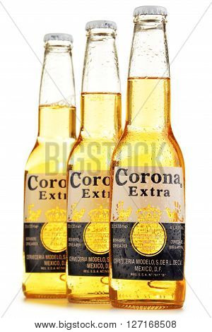 POZNAN POLAND - APRIL 23 2016: Corona Extra one of the top-selling beers worldwide is a pale lager produced by Cerveceria Modelo in Mexico