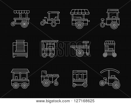 Street food trade objects. Shops on wheel, wheel market, kiosk. Food trolleys. Collection of white flat line style vector icons on black. Elements for web design, business, mobile app.