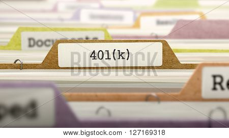 401K Concept on File Label in Multicolor Card Index. Closeup View. Selective Focus. 3D Render.