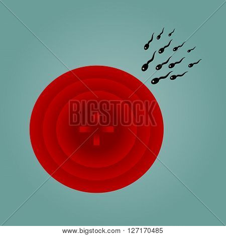 Group sperm eye tends to red schematic uterus. Drawing on a blue background.