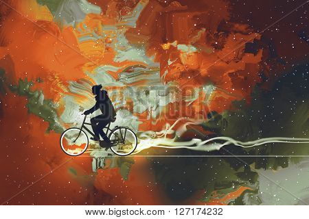 Silhouettes of man on bicycle in universe filled, illustration art