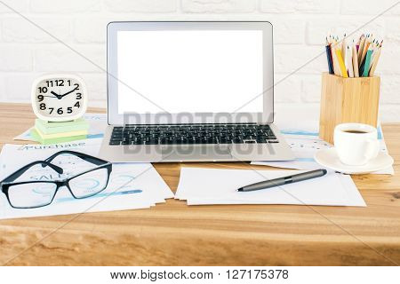 White Laptop And Glasses Front