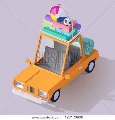 Vector isometric car illustration . Low poly style 3d family vacation icon. Funny vintage automobile ready for the journey.