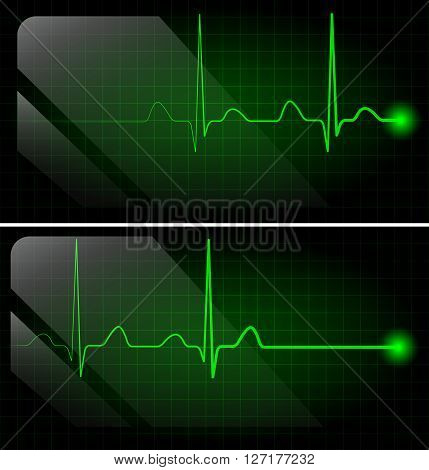 Abstract heart beats green cardiogram on monitor