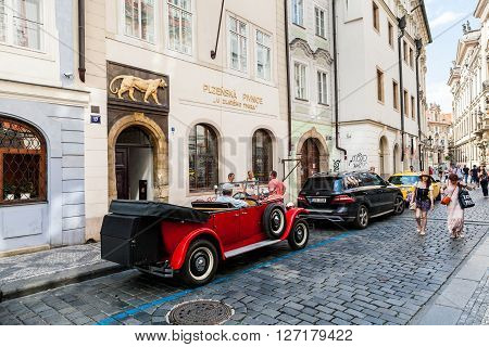 Prague, Czech Republic - July 18:  Exterior Views Of Famous Bar Golden Tiger In Of The Old Town Of P