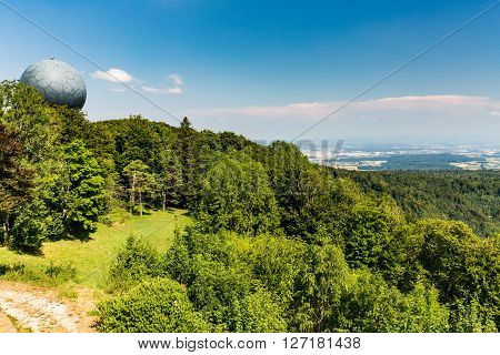 BOPPELSEN, SWITZERLAND - JULY 24, 2015: Views from Mountain Lagern to Zurich and the villages around in Switzerland on July 24, 2015.