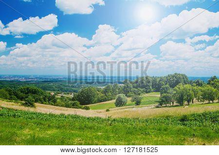 Idyllic landscape in Zumberak, Croatia, summer view, sunny day, lens flare poster