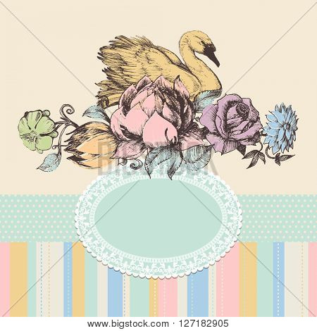 Vintage background, flowers and swan frame, retro pattern
