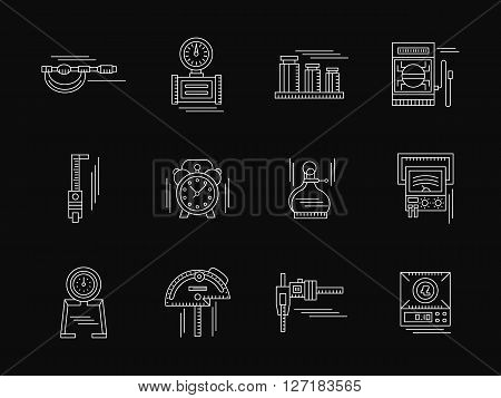 Tools, instruments and devices for test and for measuring various quantities. Engineering and metrology.  Set of white flat line vector icons on black. Elements for web design, business, mobile app.