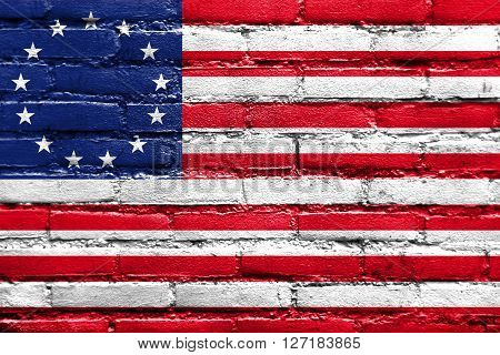 Betsy Ross Flag, Painted On Brick Wall
