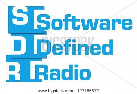 SDR - Software Defined Radio text alphabets written over blue background.