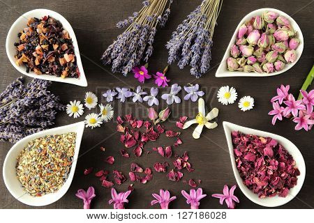 Rose flower petals and buds for aromatherapy. Dried lavender.