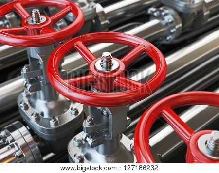 Oil or gas pipe line valves. 3d illustration