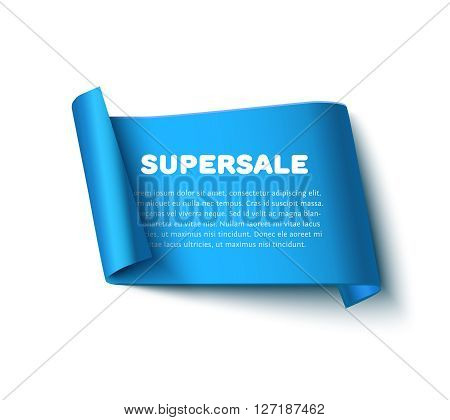 Blue curl paper ribbon banner with paper rolls soft shadow and text SUPERSALE isolated on white background. Realistic vector paper ribbon template with space for text.